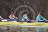 The Boat Race season 2013 - CUWBC training: In the CUWBC reserve boat Blondie 6 seat Helena Schofield, 7 Christine Seeliger and stroke Katie-Jane Whitlock.. River Thames near Remenham, Henley-on-Thames, Oxfordshire, United Kingdom, on 19 March 2013 at 15:41, image #72