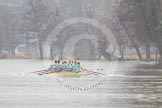 The Boat Race season 2013 - CUWBC training: The CUWBC reserve boat Blondie coming from Henley for their second training loop.. River Thames near Remenham, Henley-on-Thames, Oxfordshire, United Kingdom, on 19 March 2013 at 16:05, image #107