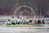 The Boat Race season 2013 - CUWBC training: The CUWBC reserve boat Blondie - cox Arav Gupta, stroke Katie-Jane Whitlock, 7 Christine Seeliger, 6 Helena Schofield, 5 Sara Lackner, 4 Lucy Griffin, 3 Rachel Boyd, 2 Ania Slotala, and bow Clare Hall.. River Thames near Remenham, Henley-on-Thames, Oxfordshire, United Kingdom, on 19 March 2013 at 16:07, image #119