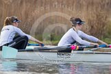 The Boat Race season 2013 - CUWBC training: The CUWBC Blue Boat at race pace - 2 seat Fay Sandford and 3 Melissa Wilson.. River Thames near Remenham, Henley-on-Thames, Oxfordshire, United Kingdom, on 19 March 2013 at 16:08, image #123
