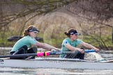 The Boat Race season 2013 - CUWBC training: The CUWBC Blue Boat - 6 seat Claire Watkins and 7 Emily Day.. River Thames near Remenham, Henley-on-Thames, Oxfordshire, United Kingdom, on 19 March 2013 at 16:08, image #125