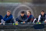 The Boat Race season 2013 - CUWBC training: The OULRC boat - 5 seat Jasper Warner, 4 Frederick Foster, 3 Keir Macdonald and2 Benjamin Bronselaer.. River Thames near Remenham, Henley-on-Thames, Oxfordshire, United Kingdom, on 19 March 2013 at 16:29, image #138