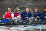 The Boat Race season 2013 - CUWBC training: The OULRC boat - stroke Max Dillon, 7 Andrew Sayce, 6 Benjamin Walpole, 5 Jasper Warner and 4 Frederick Foster.. River Thames near Remenham, Henley-on-Thames, Oxfordshire, United Kingdom, on 19 March 2013 at 16:29, image #140