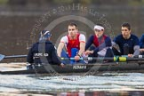 The Boat Race season 2013 - CUWBC training: The OULRC boat - cox Christian Proctor, stroke Max Dillon, 7 Andrew Sayce and 6 Benjamin Walpole.. River Thames near Remenham, Henley-on-Thames, Oxfordshire, United Kingdom, on 19 March 2013 at 16:29, image #141