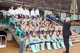 The Boat Race Season 2013 - Henley Boat Races Challenge: Rober Treharne Jones setting up a group shot on the stairs of the Henley Rowing Museum. In the bottom two rows the Blue Boat crews, then the reserve boat and the lightweight men crews.. River and Rowing Museum, H,   on 19 March 2013 at 11:22, image #61