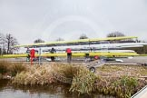 Preparations for the Henley Boat Races - the Cambridge boats at Eton Dorney.