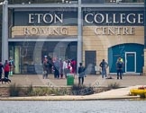 The first crew getting ready for racing in front of the Eton Dorney boathouse.