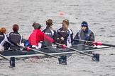 Intercollegiate Women's Race 2013: St John's College, Oxford, with 4 seat Samantha Rawlinson, 5 Hazel Shepherd, 6 Melissa Bailey, 7 Emma Lowe, stroke Hannah Evans and cox XYZ.