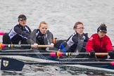 Intercollegiate Women's Race 2013: St John's College, Oxford, with 3 seat Saskia Greenhalgh, 4 Samantha Rawlinson, 5 Hazel Shepherd and 6 Melissa Bailey.