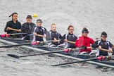 Intercollegiate Women's Race 2013: St John's College, Oxford, with Pirada Trongwongsa at bow, 2 Carly de Jonge, 3 Saskia Greenhalgh, 4 Samantha Rawlinson, 5 Hazel Shepherd, 6 Melissa Bailey, 7 Emma Lowe, stroke Hannah Evans and cox XYZ.