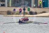 Intercollegiate Women's Race 2013: Downing College, Cambridge, with cox Ruth Wood, stroke Jennifer Joule, 7 Laura-Jane Taylor, 6 Abi Dunn, 5 Josie Hughes, 4 Bridey Addison-Child, 3 Zara Goozee, 2 Philippa Buckley and Katia Smith at bow.