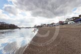 The Boat Race 2013: View along the River Thames, from Putney Embankment, towards Putney Bridge, from where the Boat Race will start.. Putney, London SW15,  United Kingdom, on 31 March 2013 at 11:04, image #3