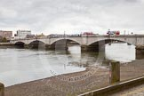 The Boat Race 2013: Putney Bridge, with the River Thames at low tide, hours before the start of the 2013 Boat Race.. Putney, London SW15,  United Kingdom, on 31 March 2013 at 11:25, image #17