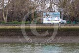 The Boat Race 2013: A large television screen on the norther (Fulham) side of the River Thames, hours before the start of the 2013 Boat Race... Putney, London SW15,  United Kingdom, on 31 March 2013 at 12:04, image #40