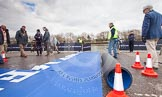 """The Boat Race 2013: The dark blue """"red carpet"""" rolled out for Oxford, hours before the start of the 2013 Boat Race. On the left the race umpires, Boris Rankov (Isis/Goldie race) and Sir Matthew Pinsent (Blue Boat Race).. Putney, London SW15,  United Kingdom, on 31 March 2013 at 12:47, image #51"""