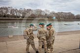 The Boat Race 2013: Royal Marines at Putney Embankment, hours before the start of the 2013 Boat Race. The Boat Race Trophy will be delivered by Marines, and then transported to the race finish at Mortlake.. Putney, London SW15,  United Kingdom, on 31 March 2013 at 12:50, image #52