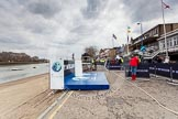 The Boat Race 2013: The BNY Mellon-lablelled platform on the left will be used for the toss of the coin by the Cambridge and Oxford teams.. Putney, London SW15,  United Kingdom, on 31 March 2013 at 13:39, image #63