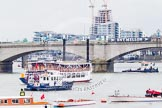 The Boat Race 2013: Putney Bridge, seen from Putney Embankment, hours before the start of the 2013 Boat Race. The river has been closed by the Port of London Authority (PLA).. Putney, London SW15,  United Kingdom, on 31 March 2013 at 13:43, image #64