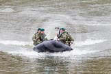 The Boat Race 2013: The 2013 Boat Race trophy is delivered by Royal Marines in a rigid inflatable boat.. Putney, London SW15,  United Kingdom, on 31 March 2013 at 14:13, image #66