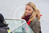 The Boat Race 2013: International rower, World Champion, and Olympic Champion Anna Watkins MBE on board of the BBC Sport boat as one of the rowing experts with commentator Clare Balding.. Putney, London SW15,  United Kingdom, on 31 March 2013 at 16:16, image #228