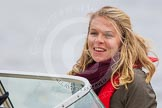 The Boat Race 2013: International rower, World Champion, and Olympic Champion Anna Watkins MBE on board of the BBC Sport boat as one of the rowing experts with commentator Clare Balding.. Putney, London SW15,  United Kingdom, on 31 March 2013 at 16:16, image #229