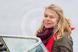 The Boat Race 2013: International rower, World Champion, and Olympic Champion Anna Watkins MBE on board of the BBC Sport boat as one of the rowing experts with commentator Clare Balding.. Putney, London SW15,  United Kingdom, on 31 March 2013 at 16:16, image #230