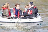 The Boat Race 2013: Clare Balding interviewing rowing champion Pete Reed (centre) on board of a boat. In front of them  rowing champion Anna Watkins and BBC floor manager Chris White.. Putney, London SW15,  United Kingdom, on 31 March 2013 at 16:18, image #236