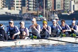 The Boat Race season 2014 - Women's Trial VIIIs (OUWBC, Oxford): Cleopatra: Cox Olivia Cleary, Stroke Laura Savarese, 7 Amber de Vere, 6 Elo Luik, 5 Harriet Keane, 4 Hannah Ledbury, 3 Isabelle Evans, 2 Chloe Farrar.. River Thames between Putney Bridge and Mortlake, London SW15,  United Kingdom, on 19 December 2013 at 12:31, image #16