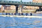 The Boat Race season 2014 - Women's Trial VIIIs (OUWBC, Oxford): Boudicca: Cox Erin Wysocki-Jones, Stroke Anastasia Chitty, 7 Maxie Scheske, 6 Lauren Kedar, 5 Nadine Graedel Iberg, 4 Hannah Roberts, 3 Clare Jamison, 2 Dora Amos, Bow Merel Lefferts.. River Thames between Putney Bridge and Mortlake, London SW15,  United Kingdom, on 19 December 2013 at 12:33, image #26
