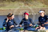The Boat Race season 2014 - Women's Trial VIIIs (OUWBC, Oxford): Boudicca:  Stroke Anastasia Chitty, 7 Maxie Scheske and 6 Lauren Kedar.. River Thames between Putney Bridge and Mortlake, London SW15,  United Kingdom, on 19 December 2013 at 12:33, image #29