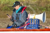 The Boat Race season 2014 - Women's Trial VIIIs (OUWBC, Oxford): Trial race umpire Sarah Winckless.. River Thames between Putney Bridge and Mortlake, London SW15,  United Kingdom, on 19 December 2013 at 12:34, image #30