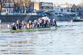 The Boat Race season 2014 - Women's Trial VIIIs (OUWBC, Oxford): Boudicca: Cox Erin Wysocki-Jones, Stroke Anastasia Chitty, 7 Maxie Scheske, 6 Lauren Kedar, 5 Nadine Graedel Iberg, 4 Hannah Roberts, 3 Clare Jamison, 2 Dora Amos, Bow Merel Lefferts.. River Thames between Putney Bridge and Mortlake, London SW15,  United Kingdom, on 19 December 2013 at 12:42, image #61