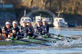 The Boat Race season 2014 - Women's Trial VIIIs (OUWBC, Oxford): Boudicca:  6 Lauren Kedar, 5 Nadine Graedel Iberg, 4 Hannah Roberts, 3 Clare Jamison, 2 Dora Amos, Bow Merel Lefferts.. River Thames between Putney Bridge and Mortlake, London SW15,  United Kingdom, on 19 December 2013 at 12:43, image #68