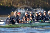 The Boat Race season 2014 - Women's Trial VIIIs (OUWBC, Oxford): Boudicca: Cox Erin Wysocki-Jones, Stroke Anastasia Chitty, 7 Maxie Scheske, 6 Lauren Kedar, 5 Nadine Graedel Iberg, 4 Hannah Roberts, 3 Clare Jamison, 2 Dora Amos, Bow Merel Lefferts.. River Thames between Putney Bridge and Mortlake, London SW15,  United Kingdom, on 19 December 2013 at 12:43, image #71