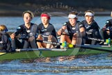 The Boat Race season 2014 - Women's Trial VIIIs (OUWBC, Oxford): Boudicca: Cox Erin Wysocki-Jones, Stroke Anastasia Chitty, 7 Maxie Scheske, 6 Lauren Kedar, 5 Nadine Graedel Iberg.. River Thames between Putney Bridge and Mortlake, London SW15,  United Kingdom, on 19 December 2013 at 12:47, image #96