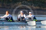 The Boat Race season 2014 - Women's Trial VIIIs (OUWBC, Oxford): Cleopatra: 3 Isabelle Evans, 2 Chloe Farrar, Bow Elizabeth Fenje.. River Thames between Putney Bridge and Mortlake, London SW15,  United Kingdom, on 19 December 2013 at 12:47, image #97