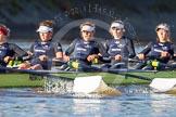 The Boat Race season 2014 - Women's Trial VIIIs (OUWBC, Oxford): Boudicca:  6 Lauren Kedar, 5 Nadine Graedel Iberg, 4 Hannah Roberts, 3 Clare Jamison.. River Thames between Putney Bridge and Mortlake, London SW15,  United Kingdom, on 19 December 2013 at 12:49, image #112