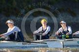 The Boat Race season 2014 - Women's Trial VIIIs (OUWBC, Oxford): Cleopatra: 6 Elo Luik, 5 Harriet Keane, 4 Hannah Ledbury.. River Thames between Putney Bridge and Mortlake, London SW15,  United Kingdom, on 19 December 2013 at 12:49, image #114