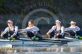 The Boat Race season 2014 - Women's Trial VIIIs (OUWBC, Oxford): Cleopatra: 4 Hannah Ledbury, 3 Isabelle Evans, 2 Chloe Farrar, Bow Elizabeth Fenje.. River Thames between Putney Bridge and Mortlake, London SW15,  United Kingdom, on 19 December 2013 at 12:49, image #116