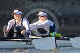 The Boat Race season 2014 - Women's Trial VIIIs (OUWBC, Oxford): Cleopatra:  2 Chloe Farrar, Bow Elizabeth Fenje.. River Thames between Putney Bridge and Mortlake, London SW15,  United Kingdom, on 19 December 2013 at 12:49, image #117