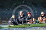 The Boat Race season 2014 - Women's Trial VIIIs (OUWBC, Oxford): Boudicca: Cox Erin Wysocki-Jones, Stroke Anastasia Chitty, 7 Maxie Scheske, 6 Lauren Kedar.. River Thames between Putney Bridge and Mortlake, London SW15,  United Kingdom, on 19 December 2013 at 12:49, image #118
