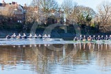 The Boat Race season 2014 - Women's Trial VIIIs (OUWBC, Oxford): Boudicca vs Cleopatra.. River Thames between Putney Bridge and Mortlake, London SW15,  United Kingdom, on 19 December 2013 at 12:49, image #121
