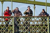 The Boat Race season 2014 - Women's Trial VIIIs (OUWBC, Oxford): Onlookers watching the race from Hammersmith Bridge.. River Thames between Putney Bridge and Mortlake, London SW15,  United Kingdom, on 19 December 2013 at 12:50, image #127