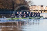 The Boat Race season 2014 - Women's Trial VIIIs (OUWBC, Oxford): Boudicca: Cox Erin Wysocki-Jones, Stroke Anastasia Chitty, 7 Maxie Scheske, 6 Lauren Kedar, 5 Nadine Graedel Iberg, 4 Hannah Roberts, 3 Clare Jamison, 2 Dora Amos, Bow Merel Lefferts.. River Thames between Putney Bridge and Mortlake, London SW15,  United Kingdom, on 19 December 2013 at 12:50, image #132