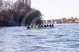 The Boat Race season 2014 - Women's Trial VIIIs (OUWBC, Oxford): Boudicca: Cox Erin Wysocki-Jones, Stroke Anastasia Chitty, 7 Maxie Scheske, 6 Lauren Kedar, 5 Nadine Graedel Iberg, 4 Hannah Roberts, 3 Clare Jamison, 2 Dora Amos, Bow Merel Lefferts.. River Thames between Putney Bridge and Mortlake, London SW15,  United Kingdom, on 19 December 2013 at 12:52, image #137