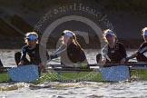 The Boat Race season 2014 - Women's Trial VIIIs (OUWBC, Oxford): Boudicca: , 4 Hannah Roberts, 3 Clare Jamison, 2 Dora Amos.. River Thames between Putney Bridge and Mortlake, London SW15,  United Kingdom, on 19 December 2013 at 12:53, image #144