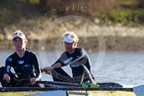 The Boat Race season 2014 - Women's Trial VIIIs (OUWBC, Oxford): Boudicca: 2 Dora Amos, Bow Merel Lefferts.. River Thames between Putney Bridge and Mortlake, London SW15,  United Kingdom, on 19 December 2013 at 12:57, image #166