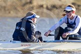 The Boat Race season 2014 - Women's Trial VIIIs (OUWBC, Oxford): Cleopatra: Cox Olivia Cleary, Stroke Laura Savarese.. River Thames between Putney Bridge and Mortlake, London SW15,  United Kingdom, on 19 December 2013 at 12:57, image #175