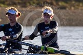 The Boat Race season 2014 - Women's Trial VIIIs (OUWBC, Oxford): Boudicca: 2 Dora Amos, Bow Merel Lefferts.. River Thames between Putney Bridge and Mortlake, London SW15,  United Kingdom, on 19 December 2013 at 12:58, image #182