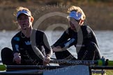 The Boat Race season 2014 - Women's Trial VIIIs (OUWBC, Oxford): Boudicca: 2 Dora Amos, Bow Merel Lefferts.. River Thames between Putney Bridge and Mortlake, London SW15,  United Kingdom, on 19 December 2013 at 12:58, image #183